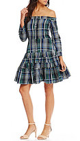 Gianni Bini Daisy Off the Shoulder Plaid Dress