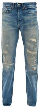 Ralph Lauren RRL Distressed Selvedge Straight-leg Jeans - Mens - Blue