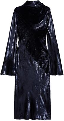 Ellery Draped Metallic Velvet Midi Dress