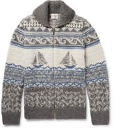 Faherty Sailboat-Patterned Shawl-Collar Merino Wool And Alpaca-Blend Zip-Up Cardigan