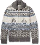 Faherty Sailboat-Patterned Shawl-Collar Merino Wool and Alpaca-Blend Zip-Up Cardigan