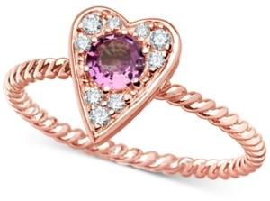 Macy's Pink Sapphire (3/8 ct. t.w.) & Certified Diamond (1/10 ct. t.w.) Heart Ring in 14k Rose Gold