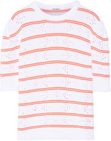 Miu Miu Pointelle-paneled striped cotton sweater