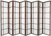 Oriental Furniture Ultra Large Big Wide Size Room Dividers, 6-Feet Double Cross Folding Shoji Privacy Floor Screen, Mocha Stain
