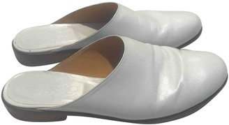 Martiniano White Leather Mules & Clogs