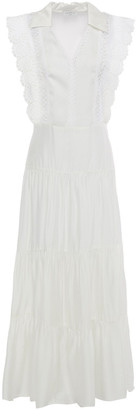 Sandro Maxime Broderie Anglaise-trimmed Gathered Satin Midi Dress