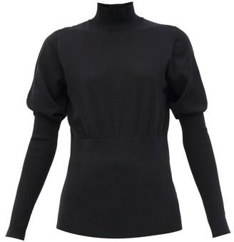 Burberry Zuri Puffed-sleeve Cotton-blend Sweater - Black