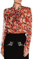 No.21 No. 21 Ruffled-Bib Long-Sleeve Printed Chiffon Blouse
