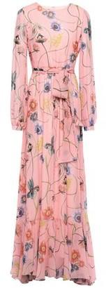 Borgo de Nor Dianora Gathered Printed Silk-chiffon Maxi Dress