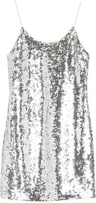 Alice + Olivia Giselle Sequin Spaghetti Strap Mini Dress