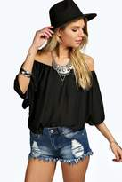 boohoo Jess Woven Off The Shoulder Top