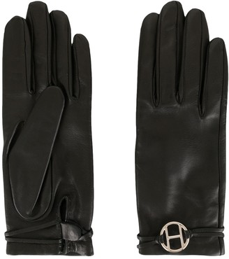 Hermes pre-owned H plaque leather gloves