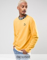 Puma High Neck Typo Crew Sweatshirt in Yellow Exclusive to ASOS