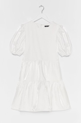 Nasty Gal Womens Always Tier Puff Sleeve Mini Dress - White
