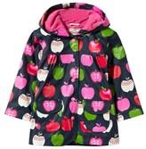 Hatley Navy Apple Print Hooded Fleece Lined Raincoat