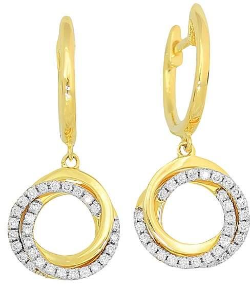Frederic Sage 18K Yellow Gold Flat Triple Halo Diamond Earrings
