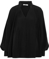 Tibi Plissé-silk Blouse - Black