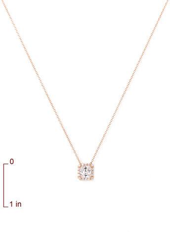 Nordstrom Princess Cut Pavé Pendant Necklace