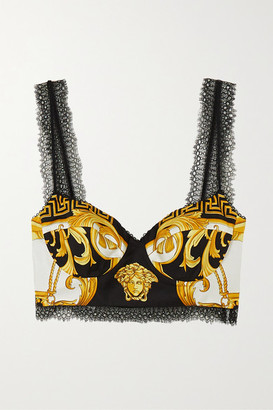 Versace - Lace-trimmed Printed Silk-twill Bustier Top - Black