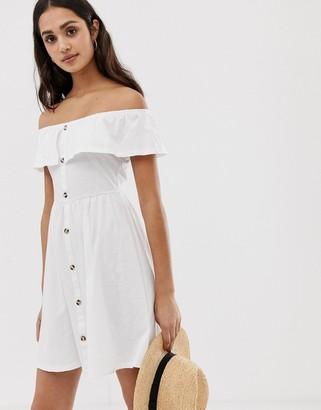ASOS DESIGN off shoulder button through sundress in white
