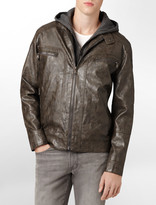 Calvin Klein Textured Faux Leather Hooded Jacket