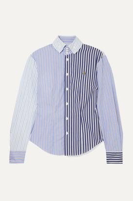 Vivienne Westwood Krall Paneled Striped Cotton-poplin Shirt - Light blue