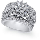 Macy's Diamond Wide Floral Cluster Ring (4 ct. t.w.) in 14k White Gold