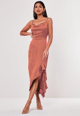 Missguided Blush Satin Ruffle Side Cami Midi Dress