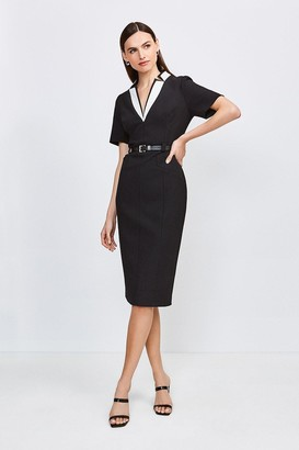 Karen Millen Contrast City Stretch Twill Notch Collar Dress