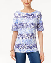 Karen Scott Petite Striped-Floral Elbow-Sleeve Top, Only At Macy's