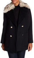 Eliza J Brushed Twill Wool Coat with Faux Fur Collar