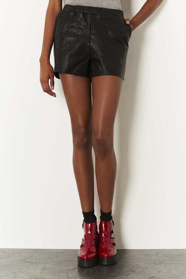 Topshop MOTO Leather Front Denim Shorts