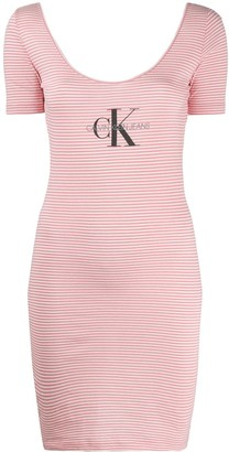 Calvin Klein Jeans Striped Logo-Print Dress