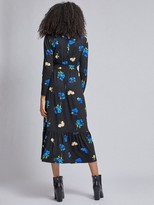 Dorothy Perkins Floral Tiered Shirred Neck Midi Dress - Black