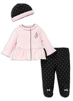 Little Me Girls' Ballet Dot Cardigan, Footie Leggings & Hat Set - Baby