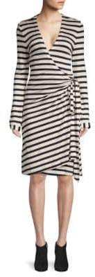 Pink Tartan Striped Wrap Dress