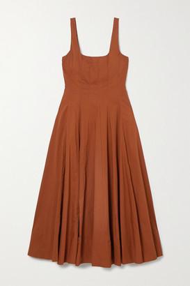 STAUD Pleated Cotton-blend Poplin Maxi Dress - Tan