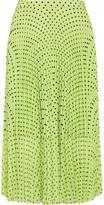 Markus Lupfer Hailey Pleated Polka-dot Georgette Midi Skirt - Lime green