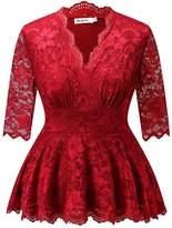 Dilanni Women V-neck 3/4 Sleeve Pelum Plus Size Linder Lace Evening Top (0X-)