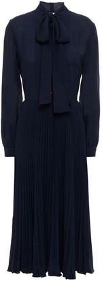 Claudie Pierlot Pussy-bow Pleated Crepe Midi Dress