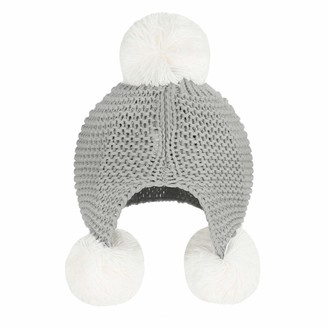 Fakeface Baby Infants Knitted Crochet Hat Beanie Hat Autumn Winter Warm Pompom Cap Classic Soft Cable Bobble Hat Earflap Cap Beanie with Pompom for Baby 12-24 Months Christmas Birthday Gifts Grey