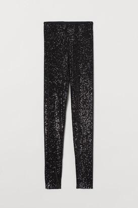 H&M Sequined Leggings - Black