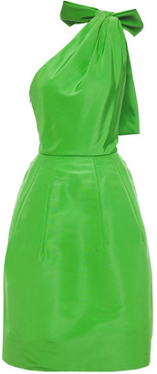 Oscar de la Renta Bow-embellished Cutout Silk-taffeta Dress