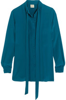 Tod's Pleated Silk Crepe De Chine Shirt - Teal