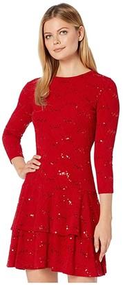 MICHAEL Michael Kors Sequin Jacquard Double Tier Dress (Black) Women's Dress
