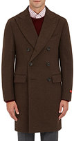 Isaia Men's Wool Melton Double-Breasted Peacoat-BROWN