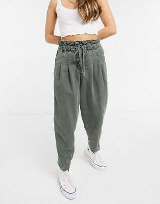 Free People Margate pleated pants in green
