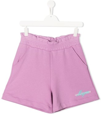 Msgm Kids TEEN logo print track shorts