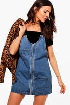 Boohoo Petite Kitty Zip Front Denim Pinafore Dress