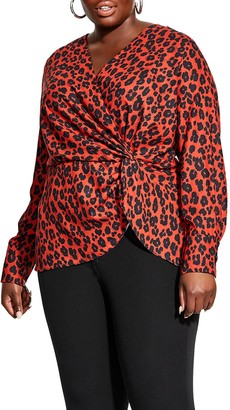 City Chic Top Red Leopard